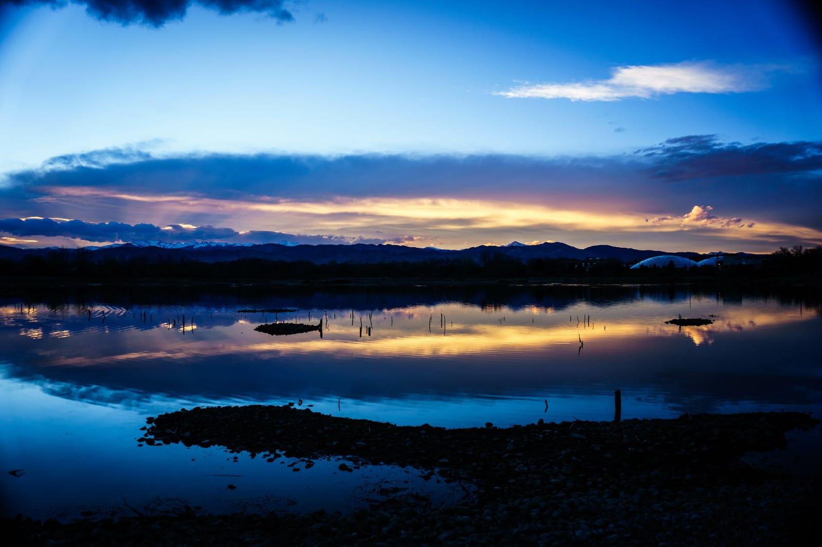 Image of the Walden Ponds Wildlife Habitat in Boulder, Colorado at sunset