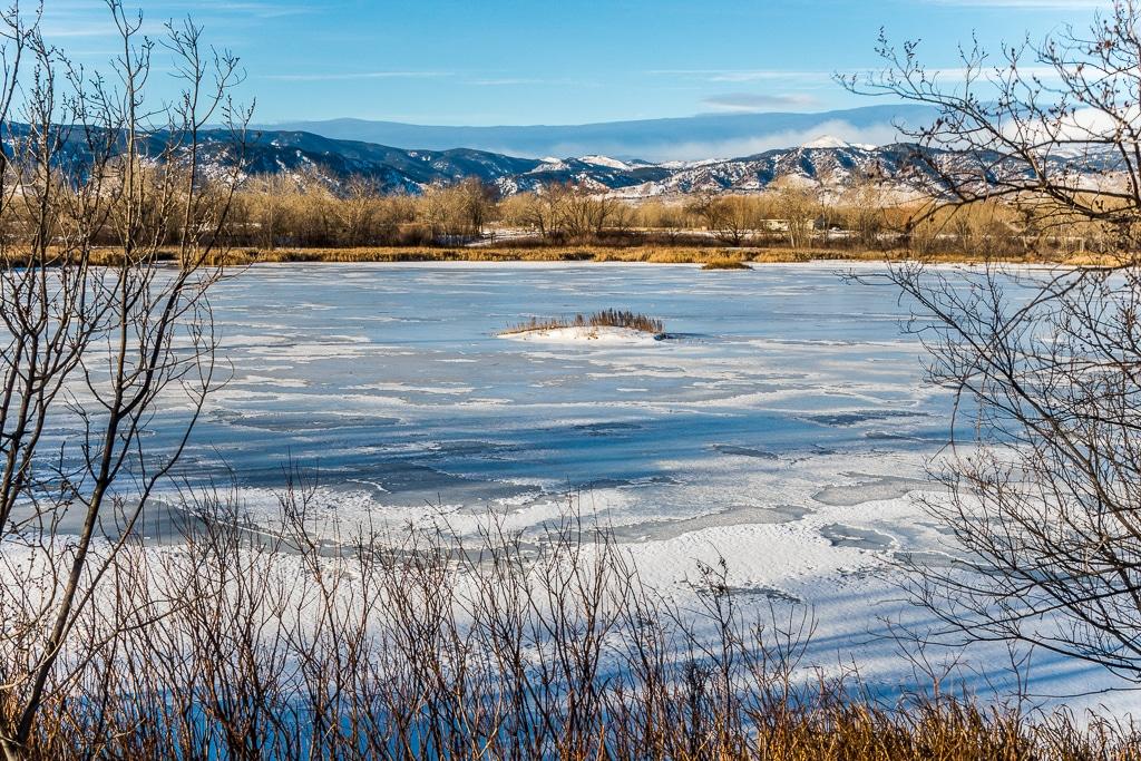 Image of the Walden Ponds Wildlife Habitat in Boulder, Colorado during winter