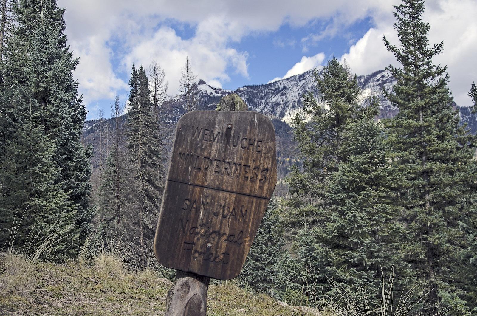 Weminuche Wilderness Area Sign Colorado