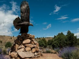 Image of the eagle sculpture in the Dennis Weaver Memorial Park in Ridgway, Colorado