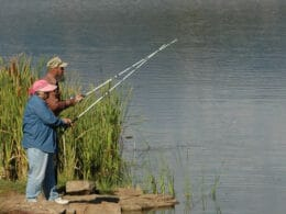 Image of two people fishing at Beaver Creek Reservoir in South Fork