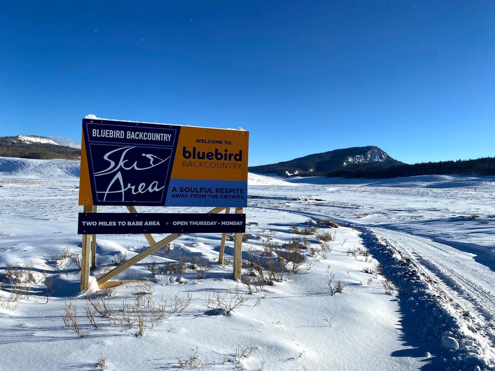 Image of the sign for Bluebird Backcountry in Colorado