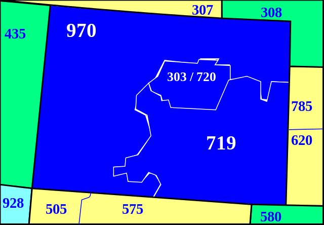 Colorado Area Codes Map