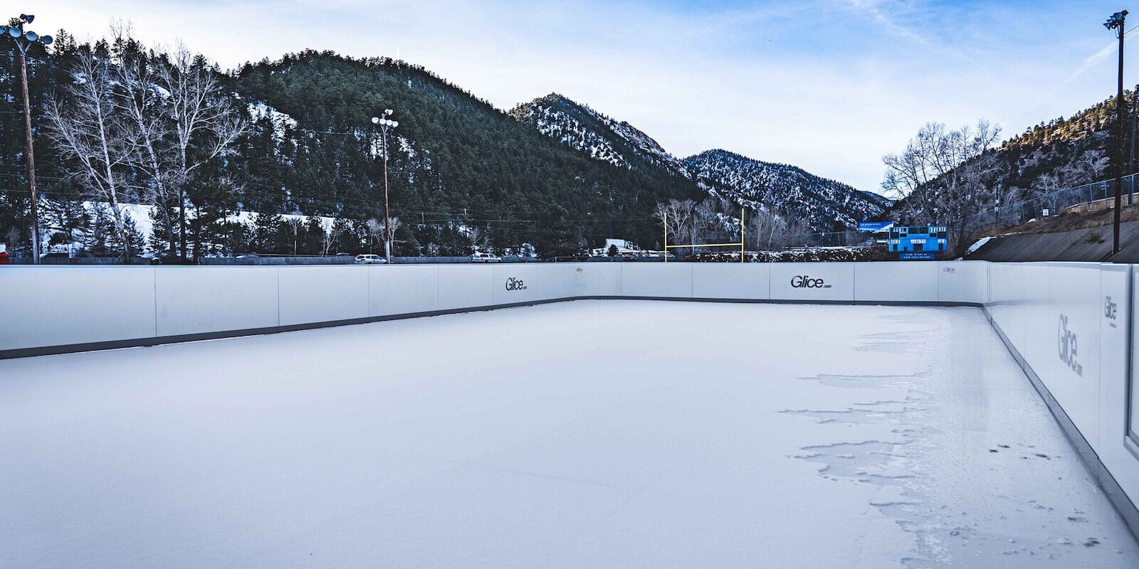 Image of the Frozen Fire Rink in Idaho Springs, Colorado