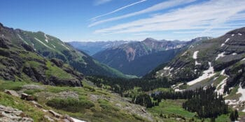 Hiking along Ice Lake Trail Silverton Colorado Valley View