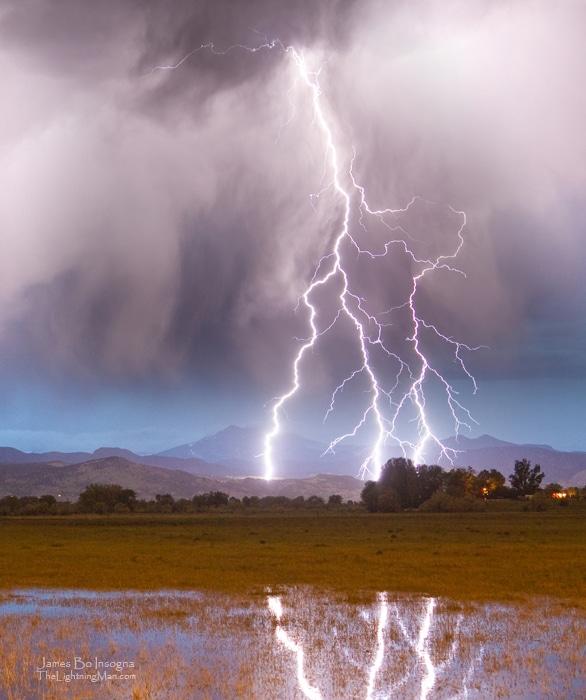Lightning Strikes Longs Peak Boulder County Colorado