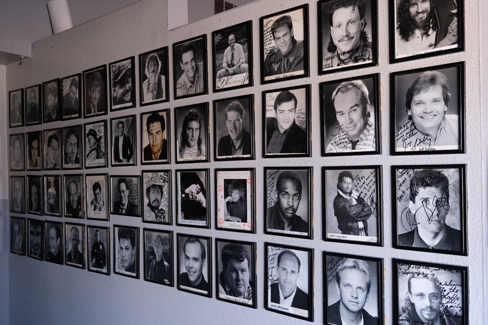 Image of autographed photos at Loonees Comedy Corner in Colorado Springs, Colorado