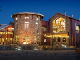 Image of the Odell Brewing Company in Fort Collins at night