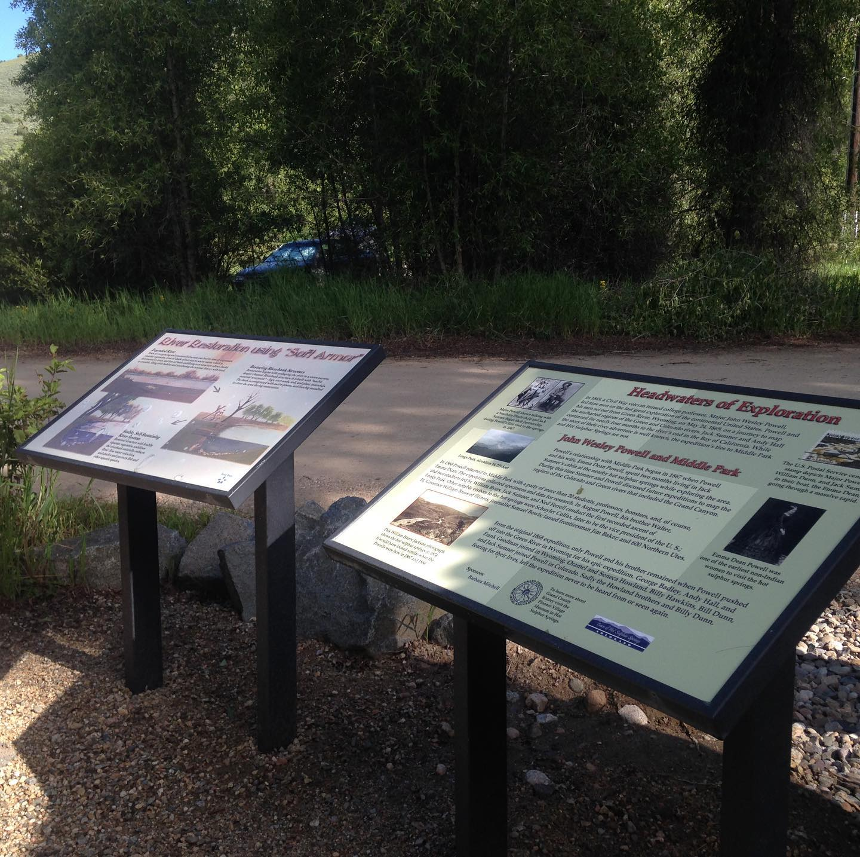Image of informational signage at Pioneer Park in Hot Sulphur Springs, Colorado