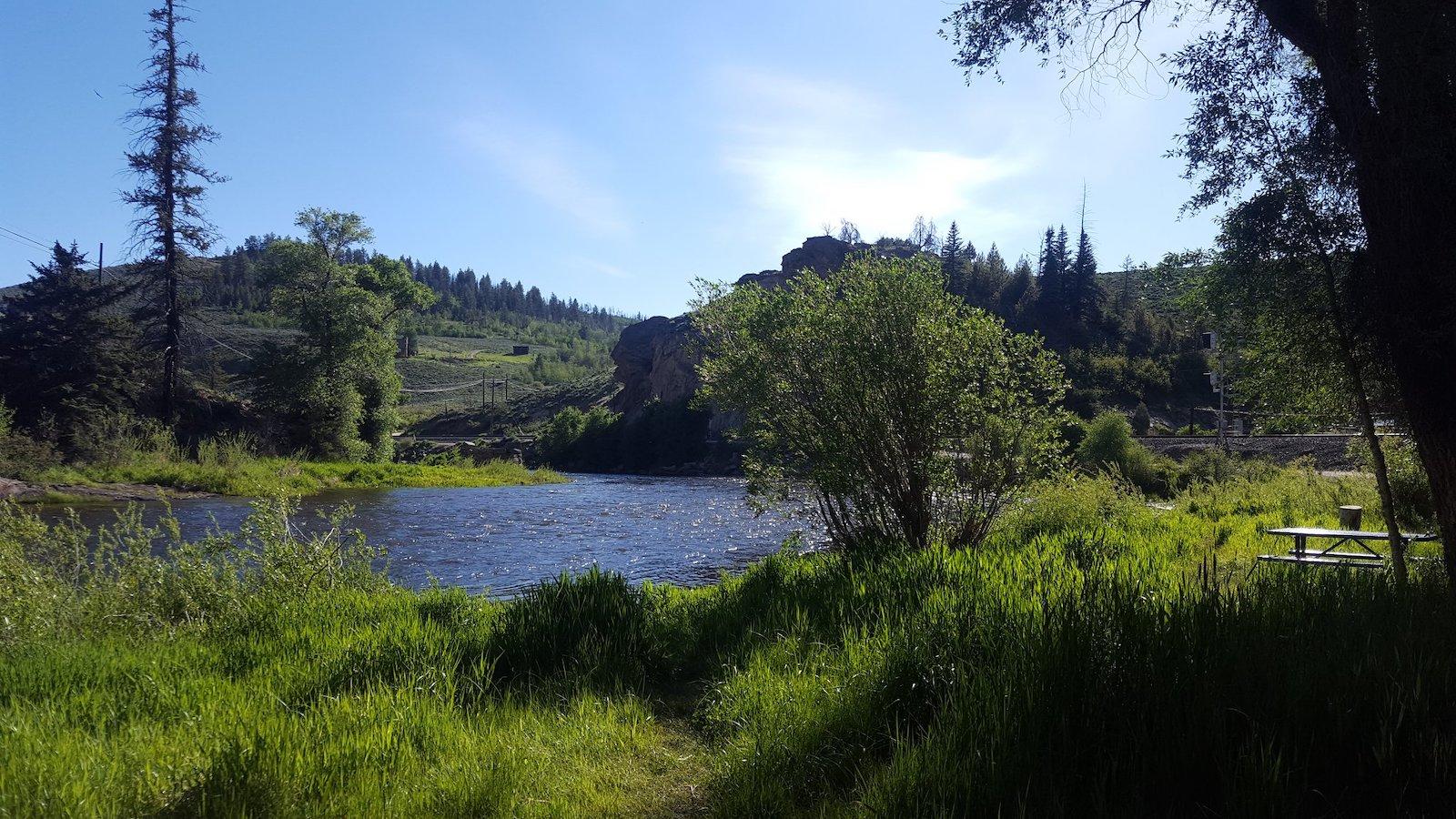 Image of the Colorado River flowing through Pioneer Park in Hot Sulphur Springs, Colorado