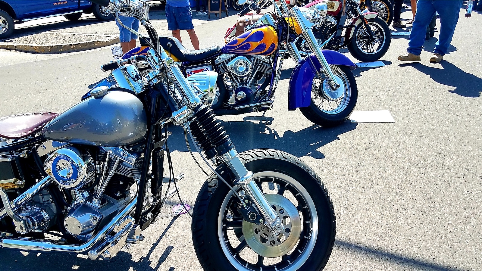 Motorcycles lined up at Unknown Motorcycle Show Montrose