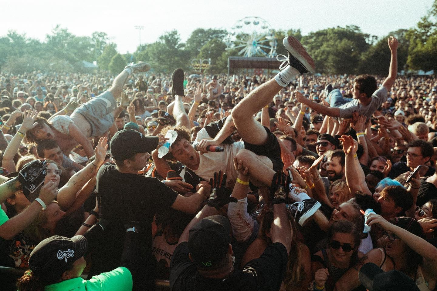 Image of the crowd surfers at Fiddler's Green Amphitheatre in Greenwood, Colorado