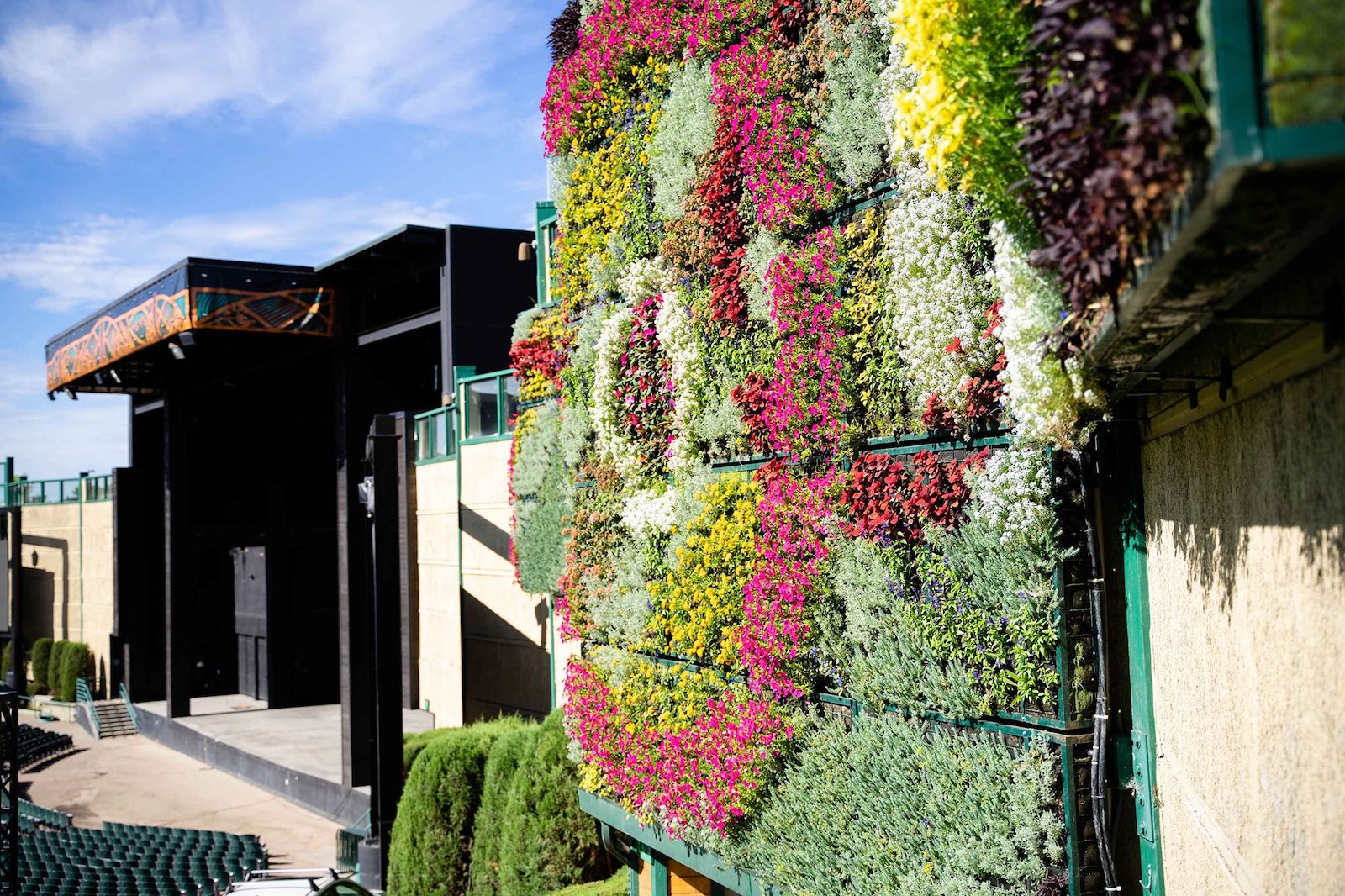 """Image of the """"living wall"""" of plants at Fiddler's Green Amphitheatre in Greenwood, Colorado"""