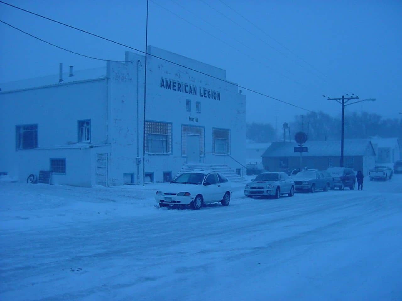 American Legion Hall in Flagler Colorado Snowy Day