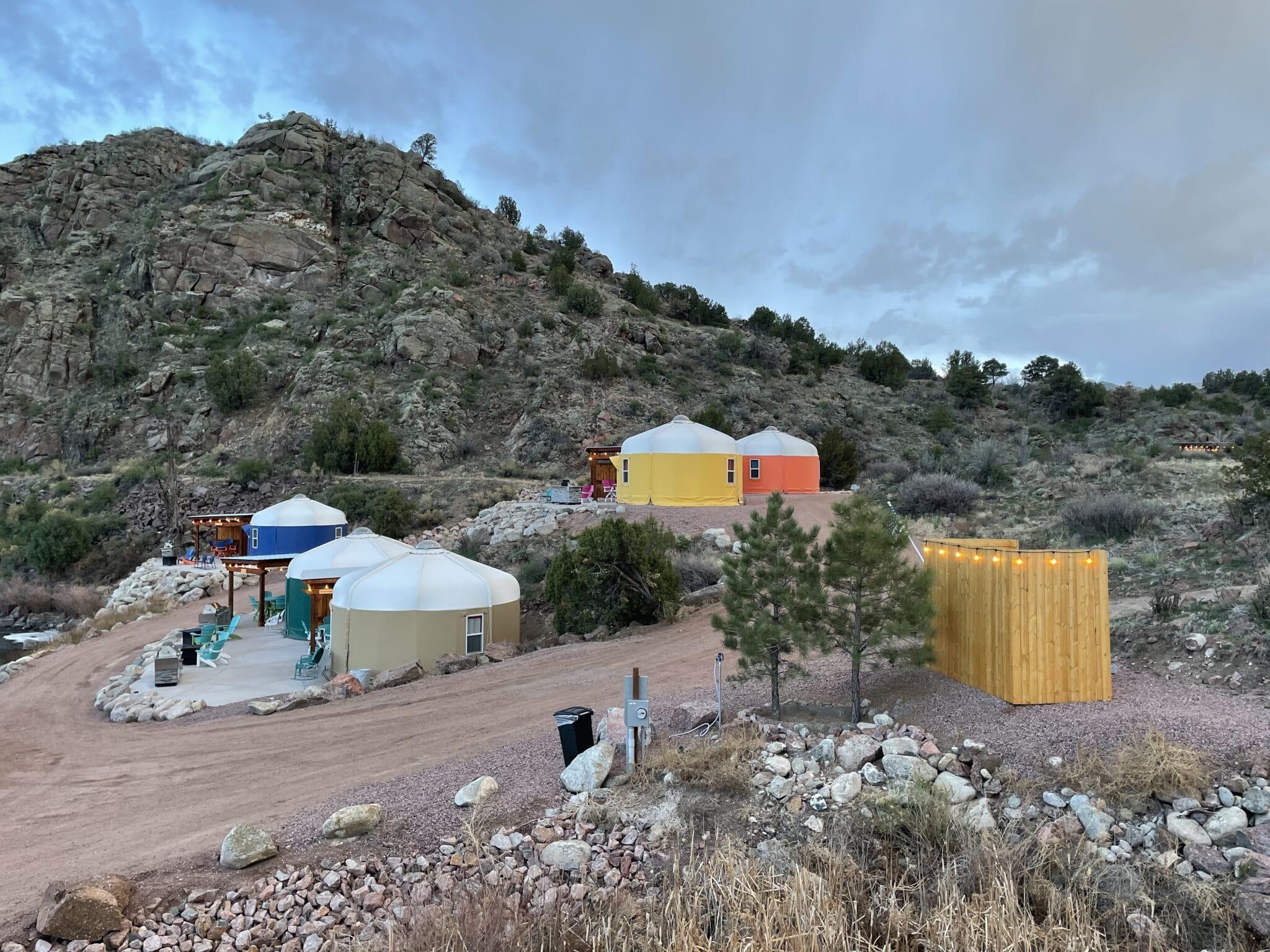 image of glamping yurts