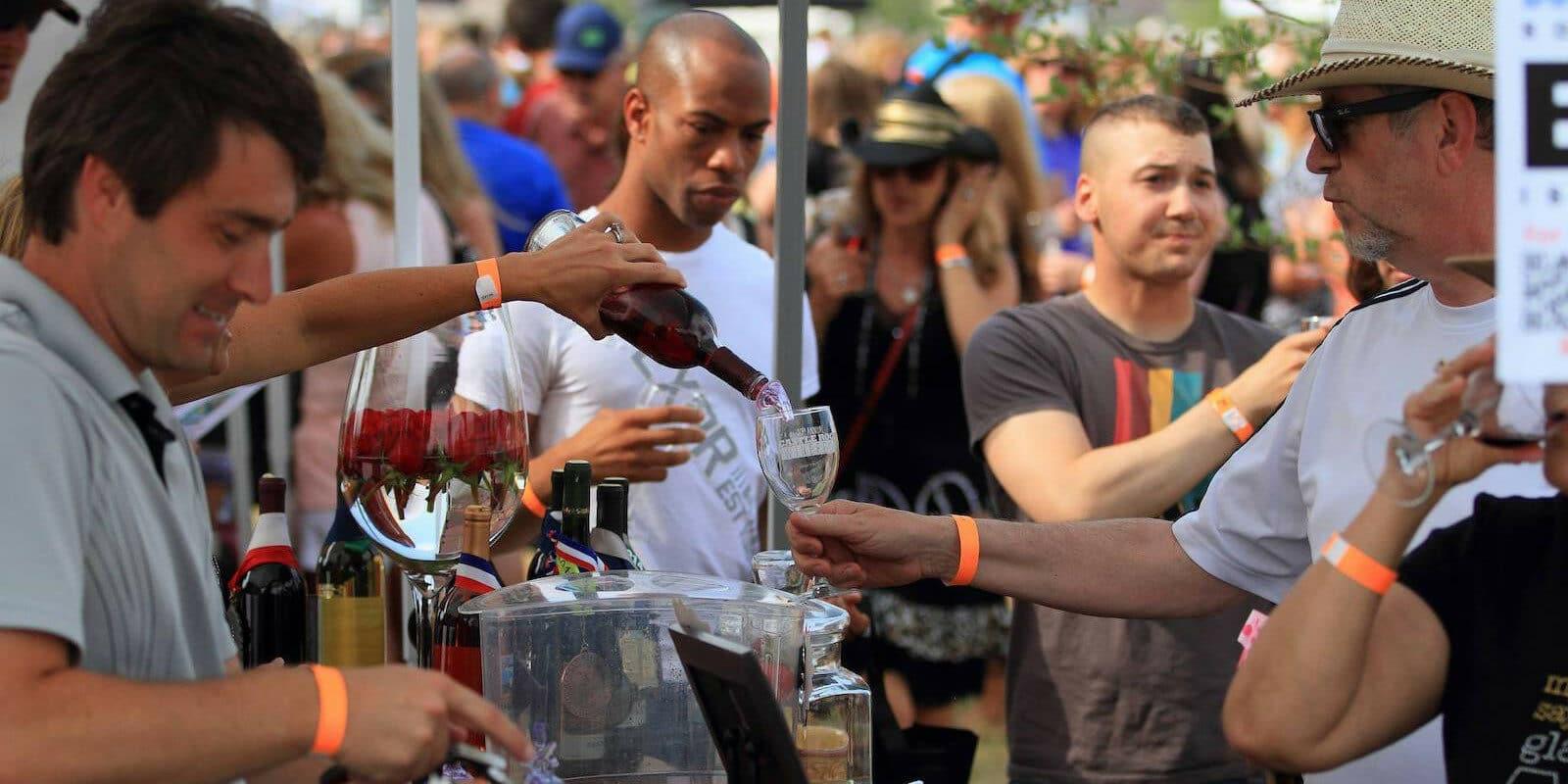 Image of a wine sampling at Castle Rock Winefest in Colorado