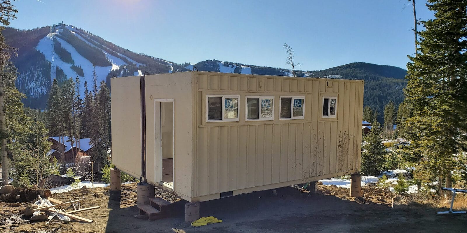 Image of a Colorado Container Home being built in the mountains
