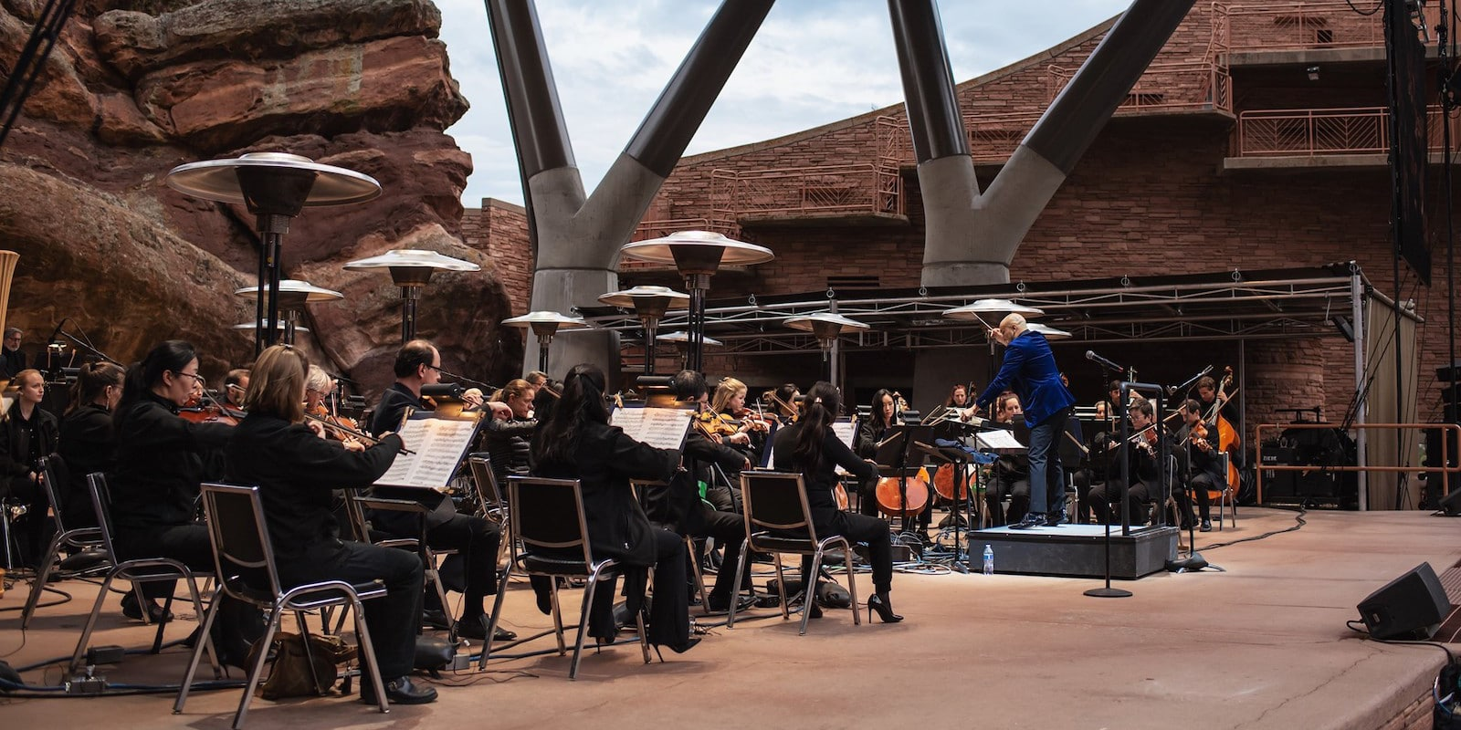 Image of the Colorado Symphony performing at Red Rock Amphitheater in Morrison Colorado