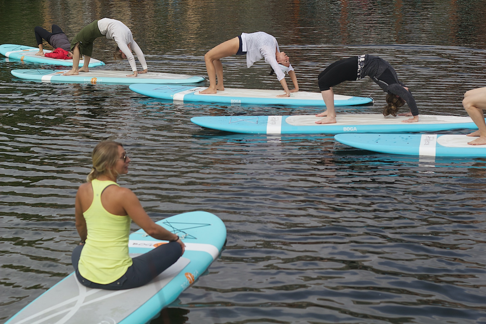 Colorado yoga event on stand up paddle boards