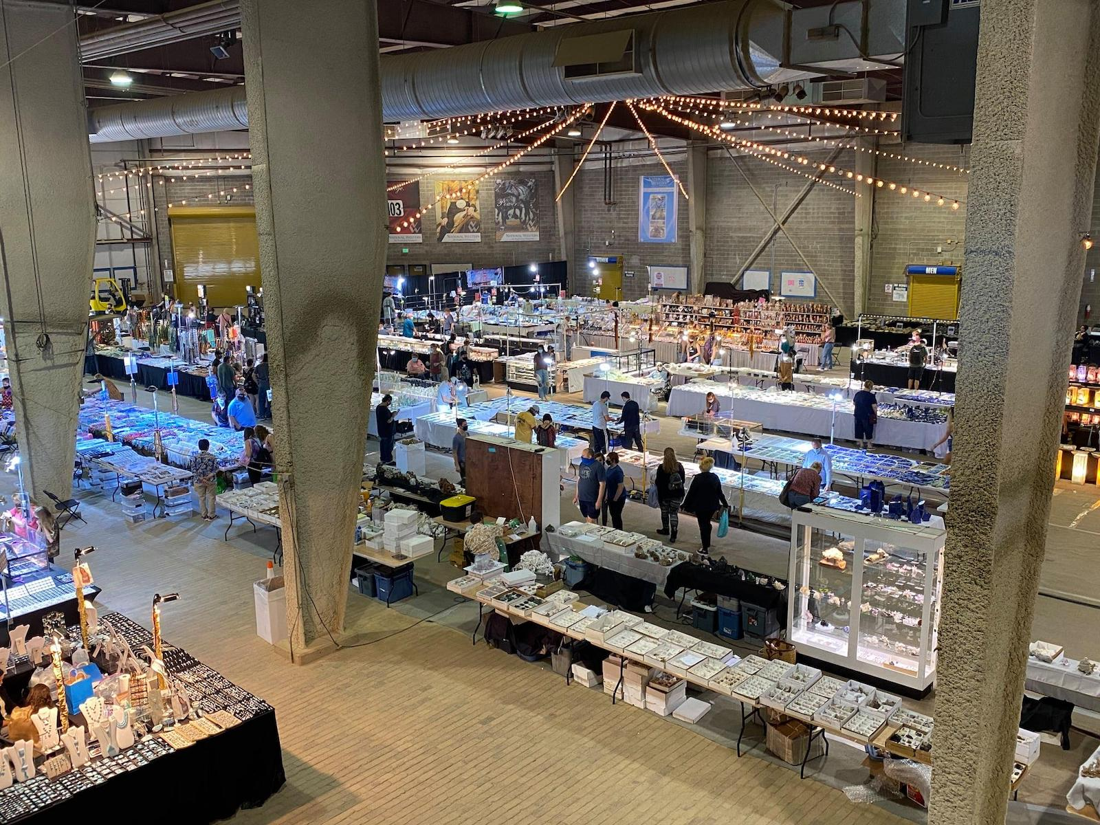 Image of the stands at the Denver Mineral Show in Colorado