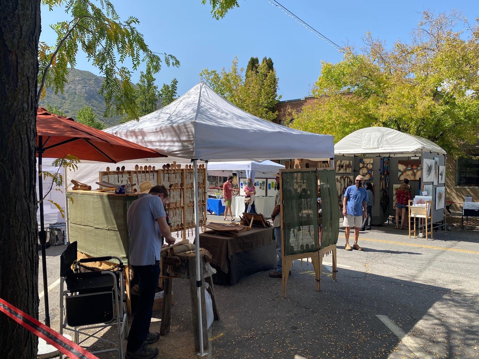 Image of a booth of the Durango Autumn Arts Festival in Durango, Colorado