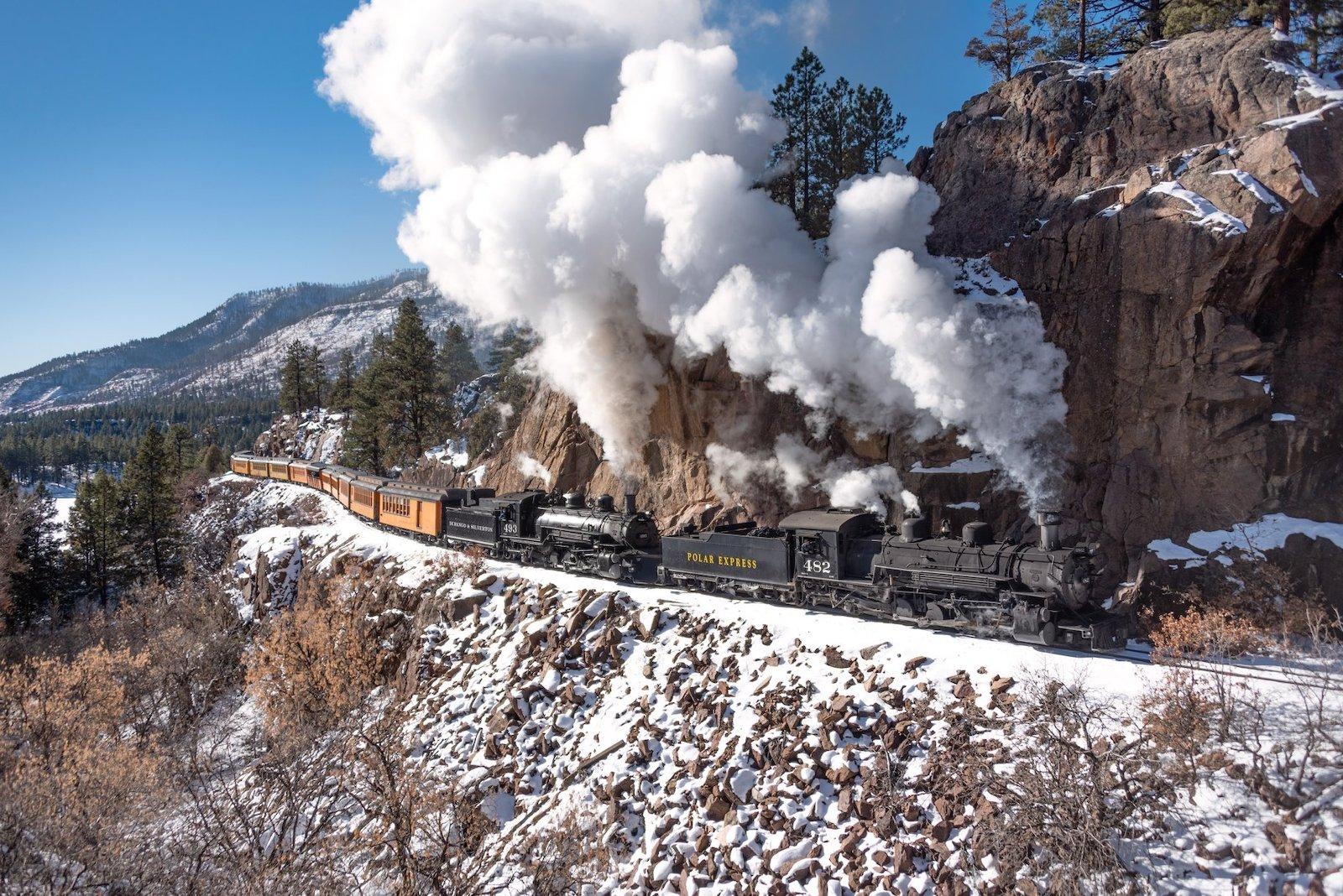 Image of the Polar Express train in Durango, Colorado