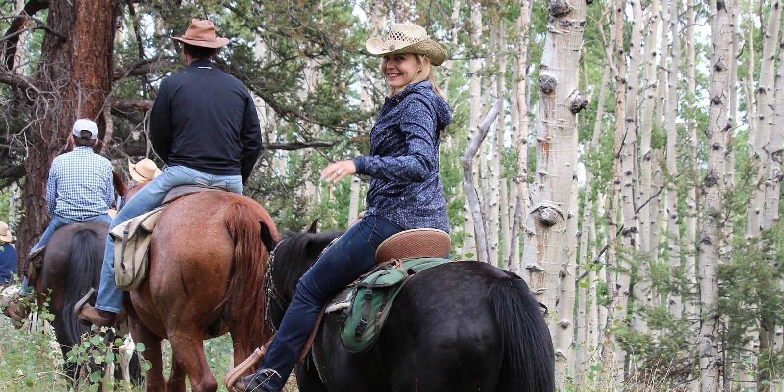Image of people horseback riding at Elk Mountain Dude Ranch in Buena Vista, Colorado