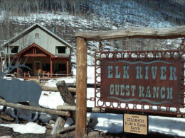 Image of the entrance sign to the Elk River Guest Ranch in Clark, Colorado