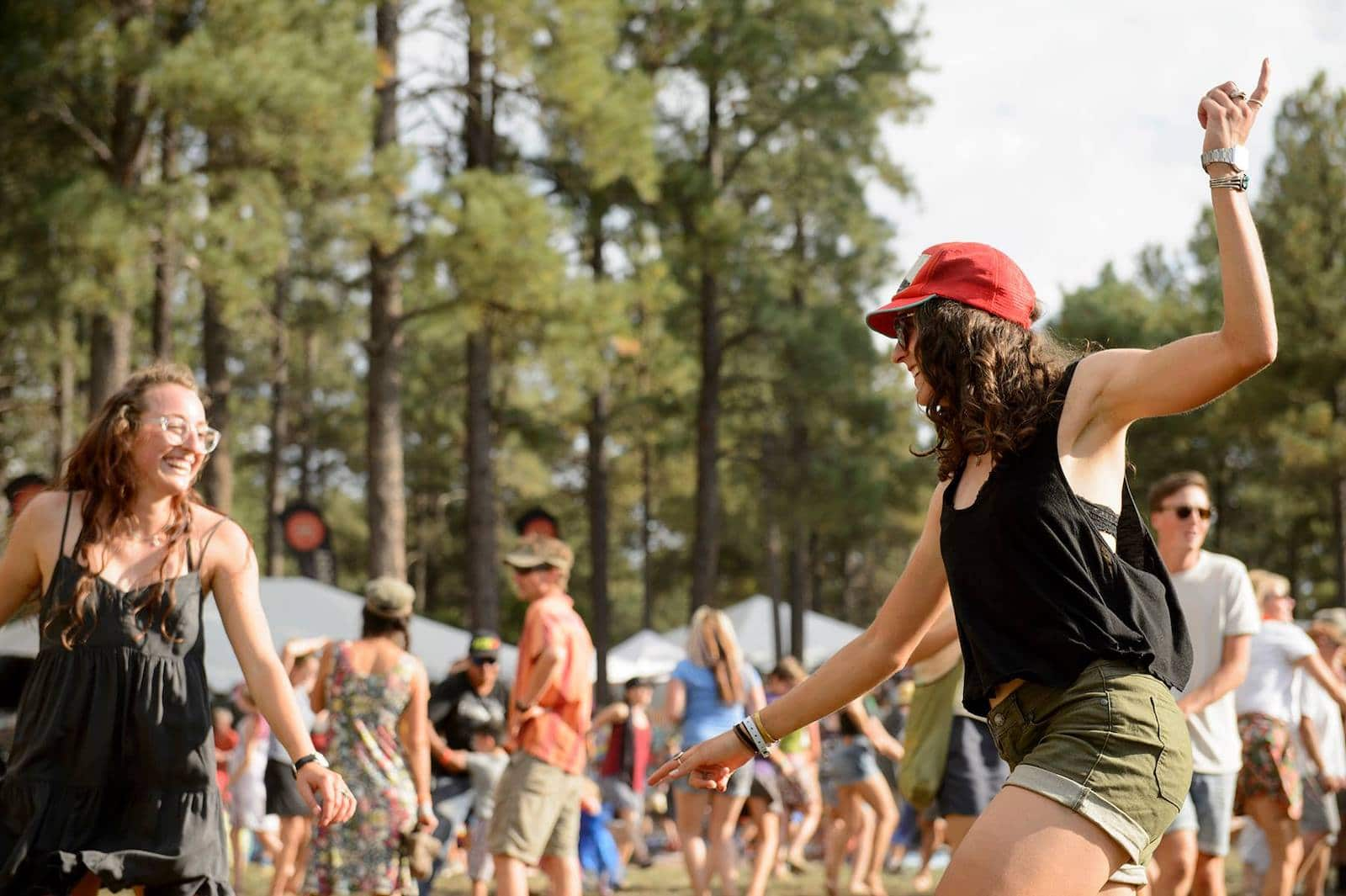 Image of two women dancing at the Four Corners Folk Festival in Pagosa Springs, Colorado