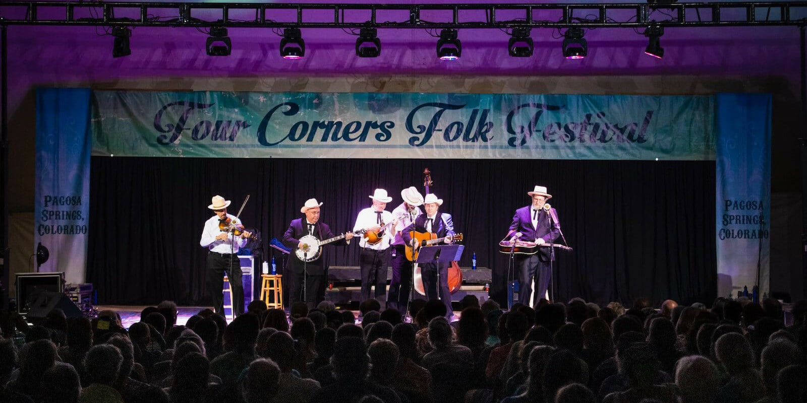 Image of the main stage at Four Corners Folk Festival in Pagosa Springs, Colorado