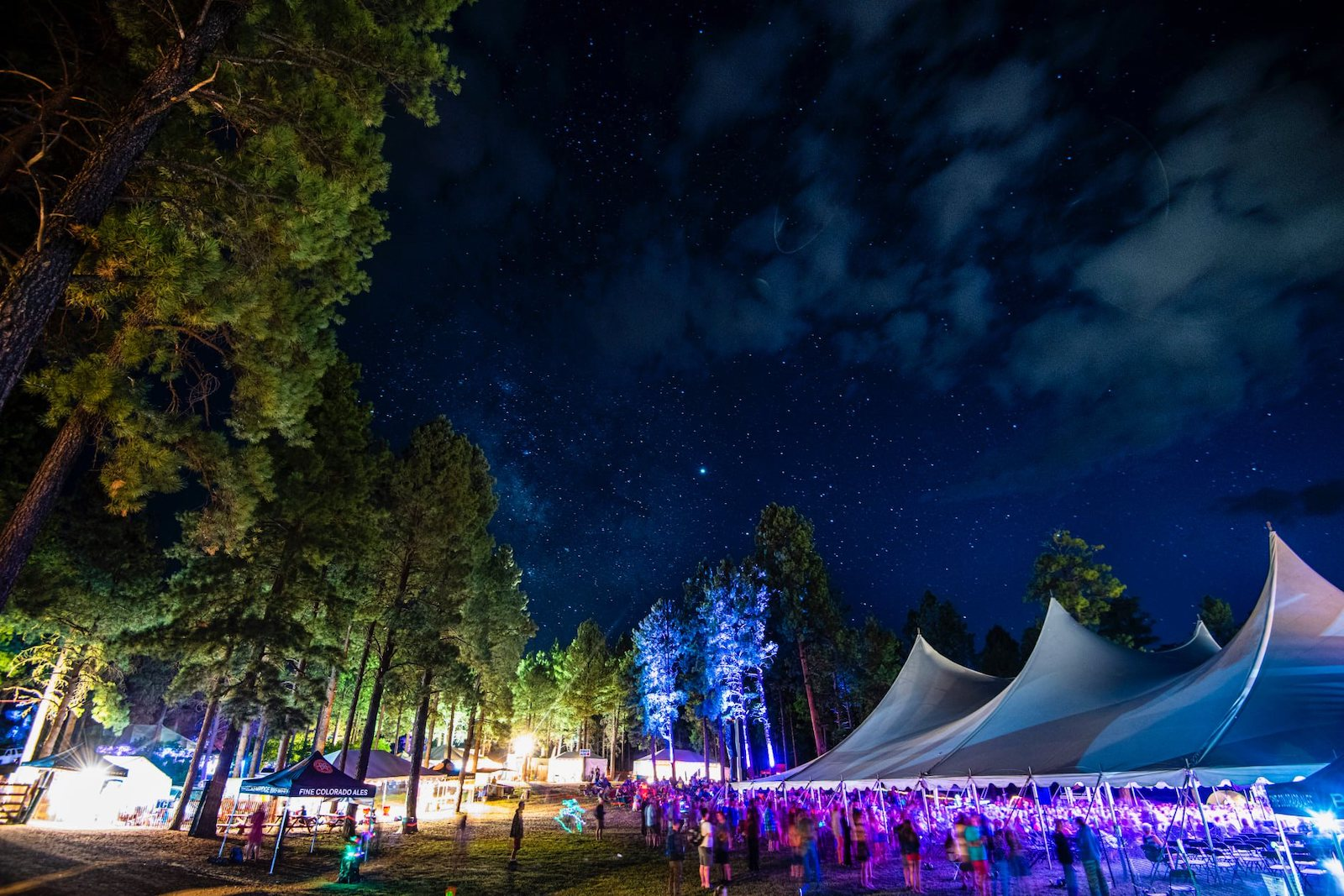 Image of the Four Corners Music Festival in Pagosa Springs, Colorado at night