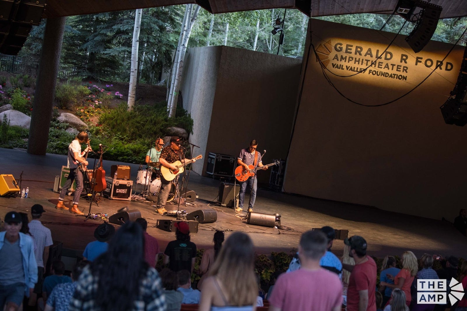 Image of a band performing at the Gerald R. Ford Amphitheater in Vail, Colorado