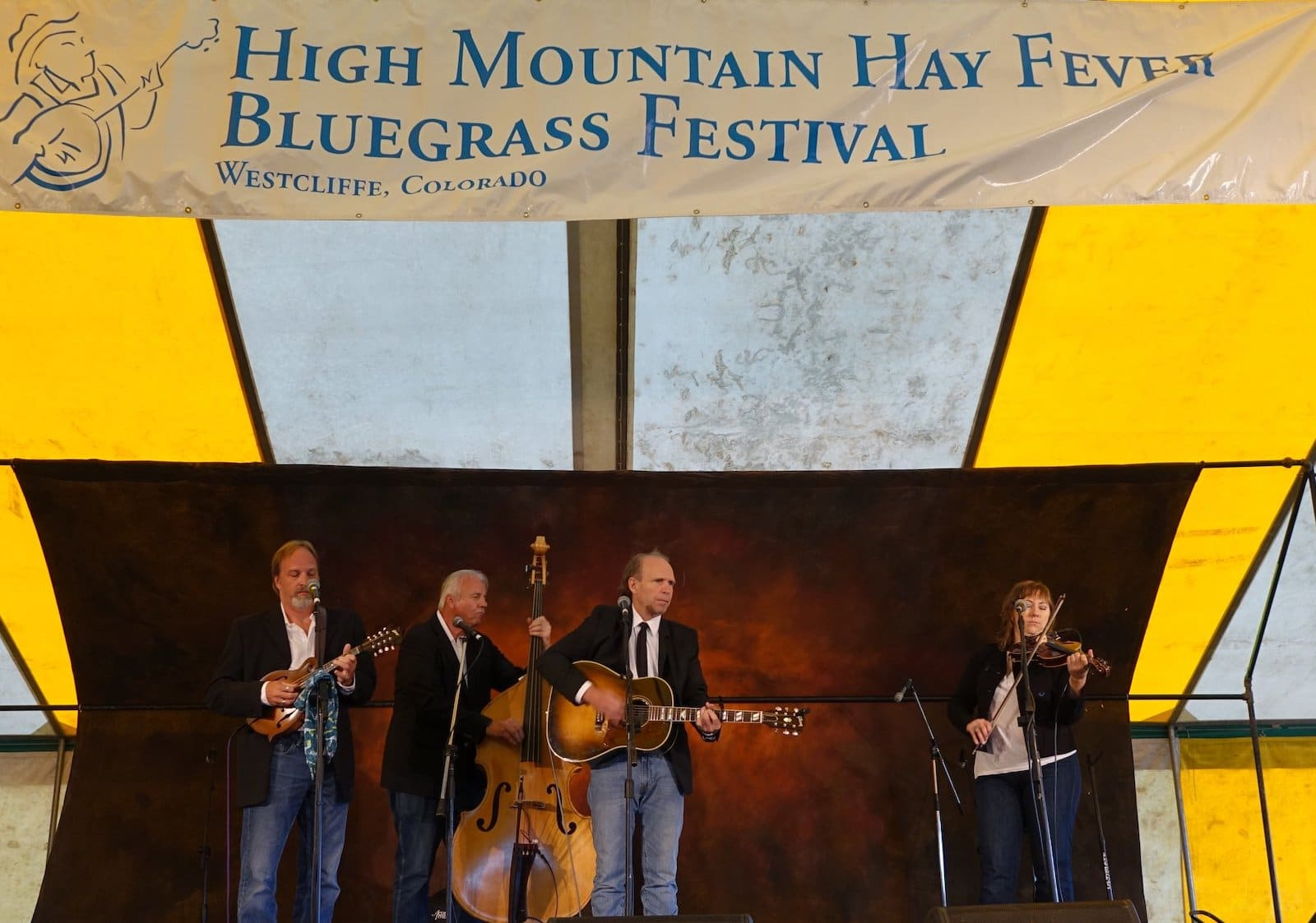 Image of the High Mountain Hay Fever Bluegress Festival stage in Westcliffe, CO