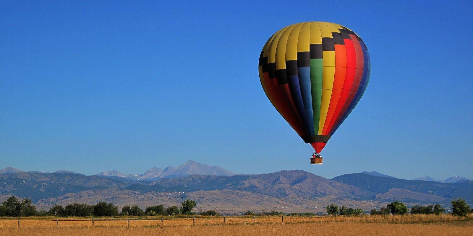 Image of a hot air balloon in Boulder, Colorado