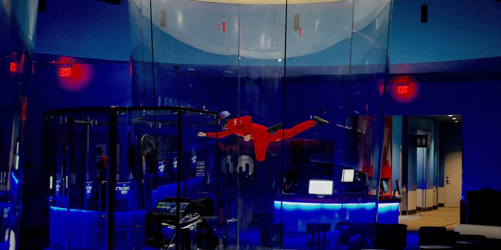 Image of a person flying at iFly, an indoor skydiving facility in Lone Tree, Colorado