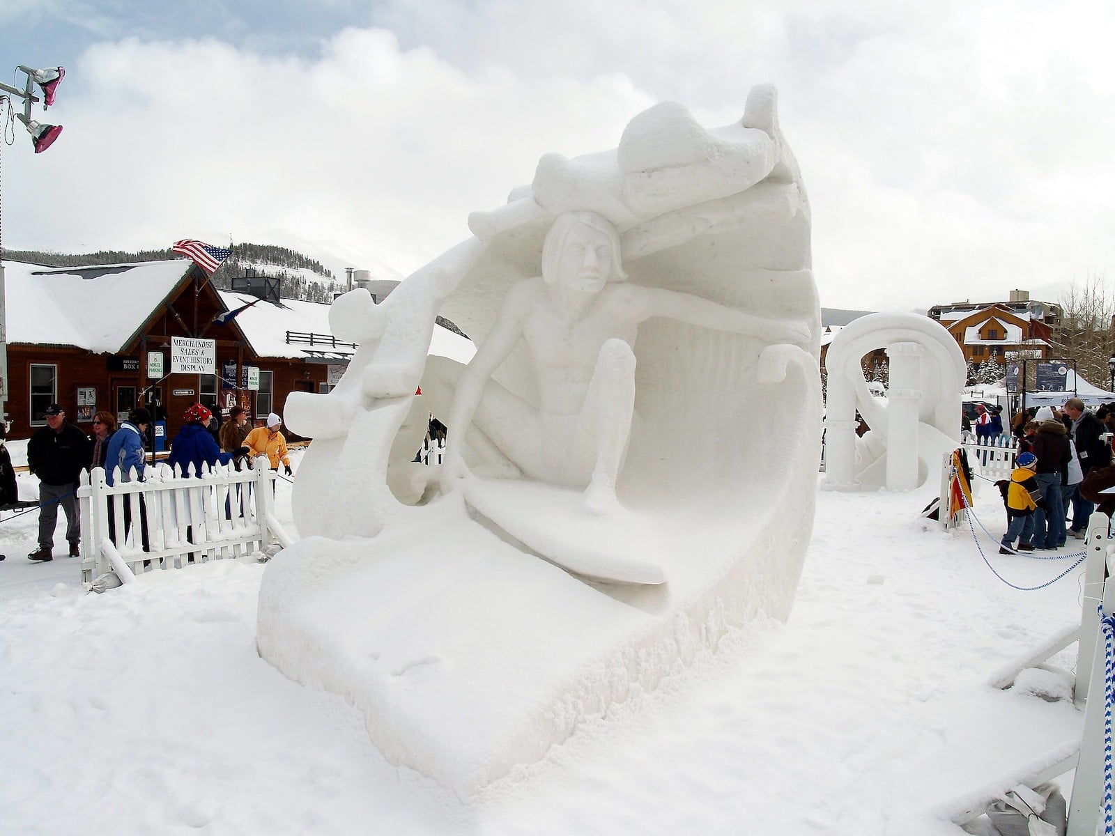 Image of a ice sculptor depicting a person riding a wave