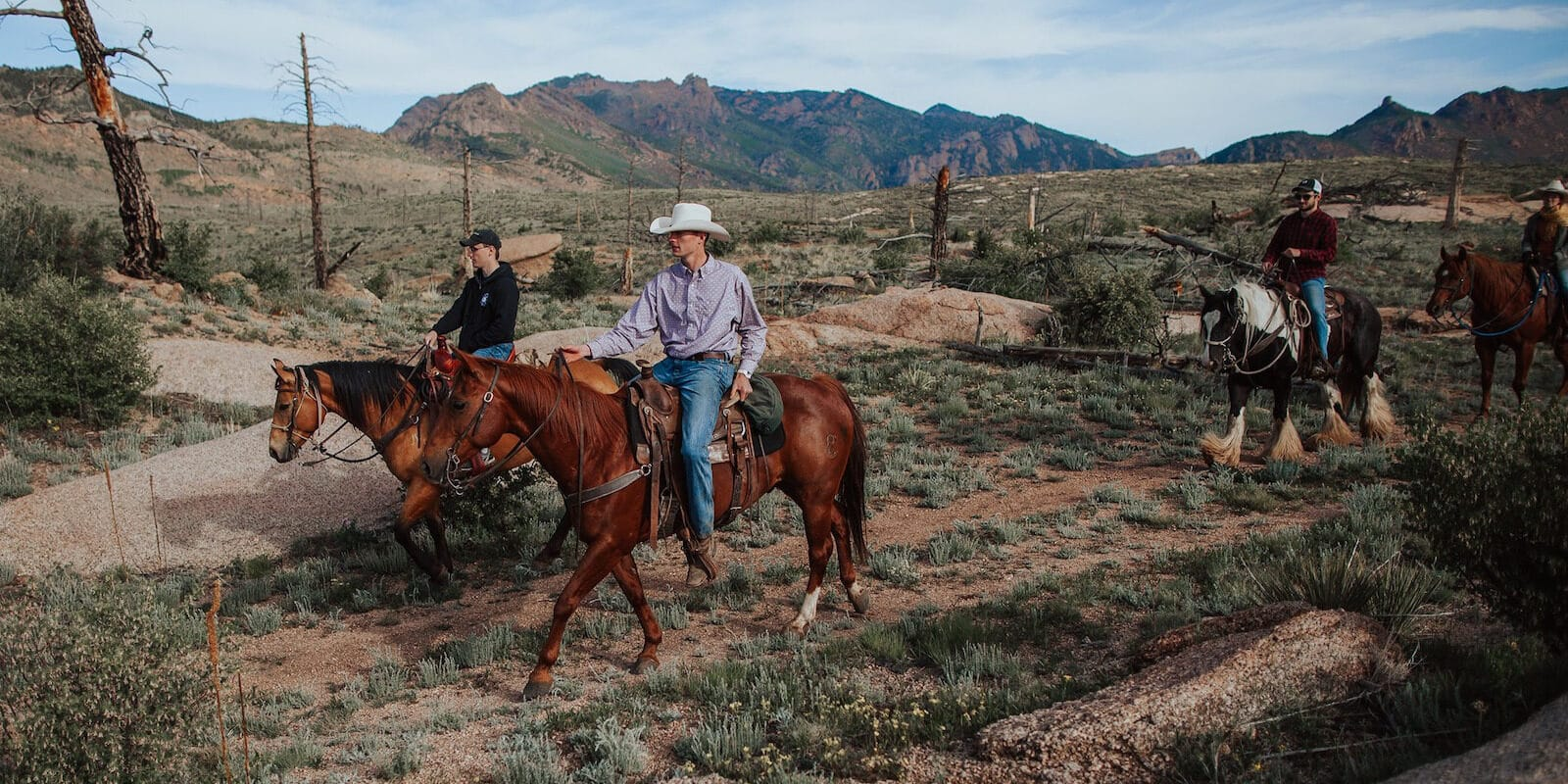 Image of people riding horses at the Lost Valley Ranch in Sedalia, Colorado