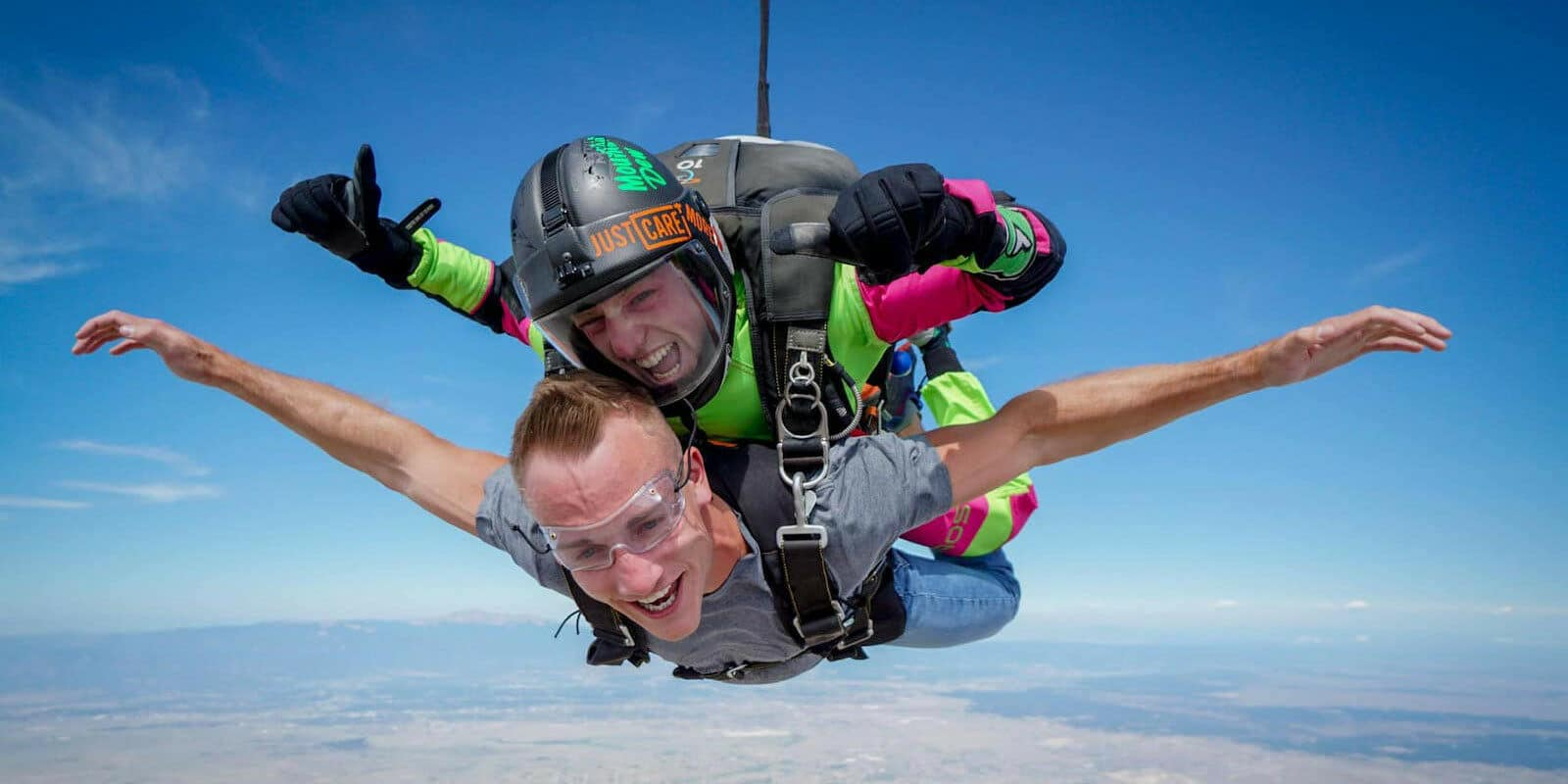 Image of tandem skydivers from Out of the Blue Skydiving in Calhan, CO