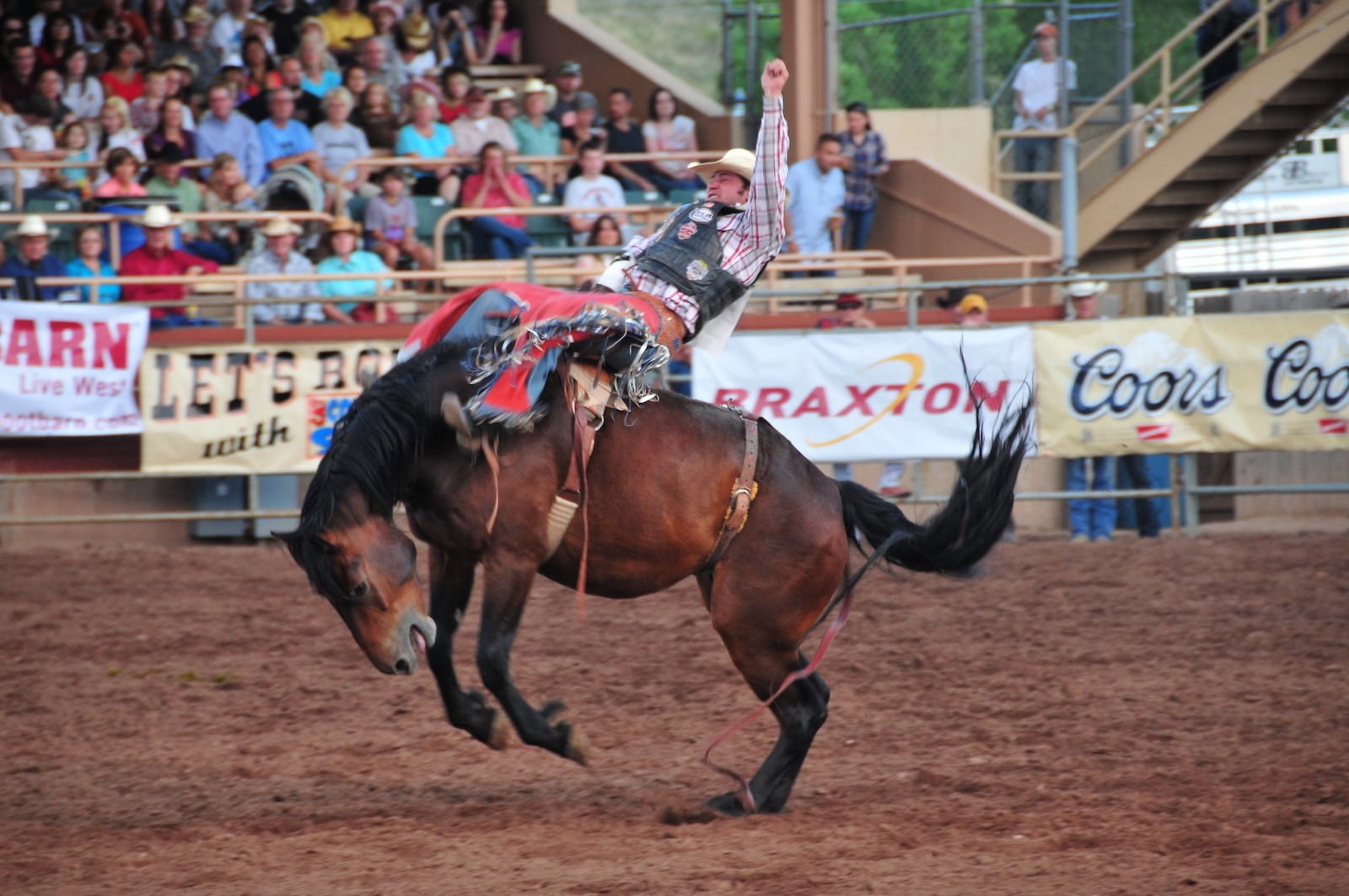 Image of a rider on a horse at Pikes Peak or Bust Rodeo in Colorado Springs