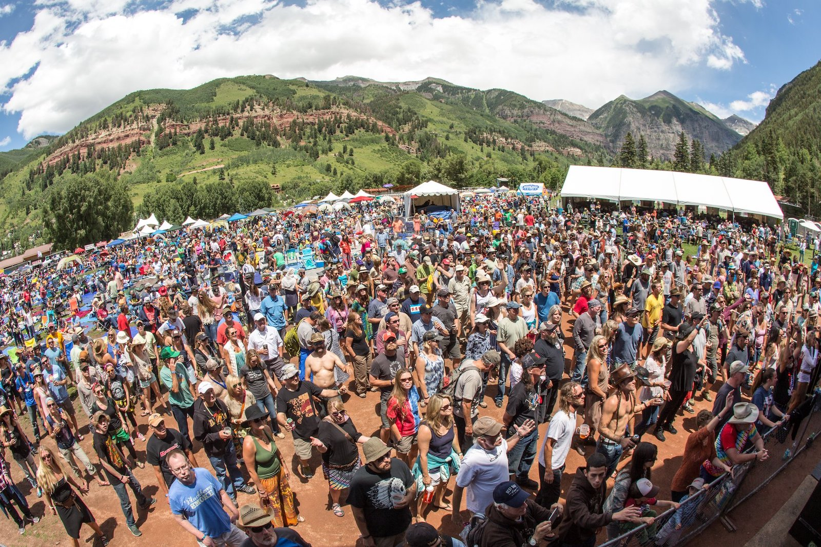 Image of the crowds at Telluride's RIDE festival in Colorado