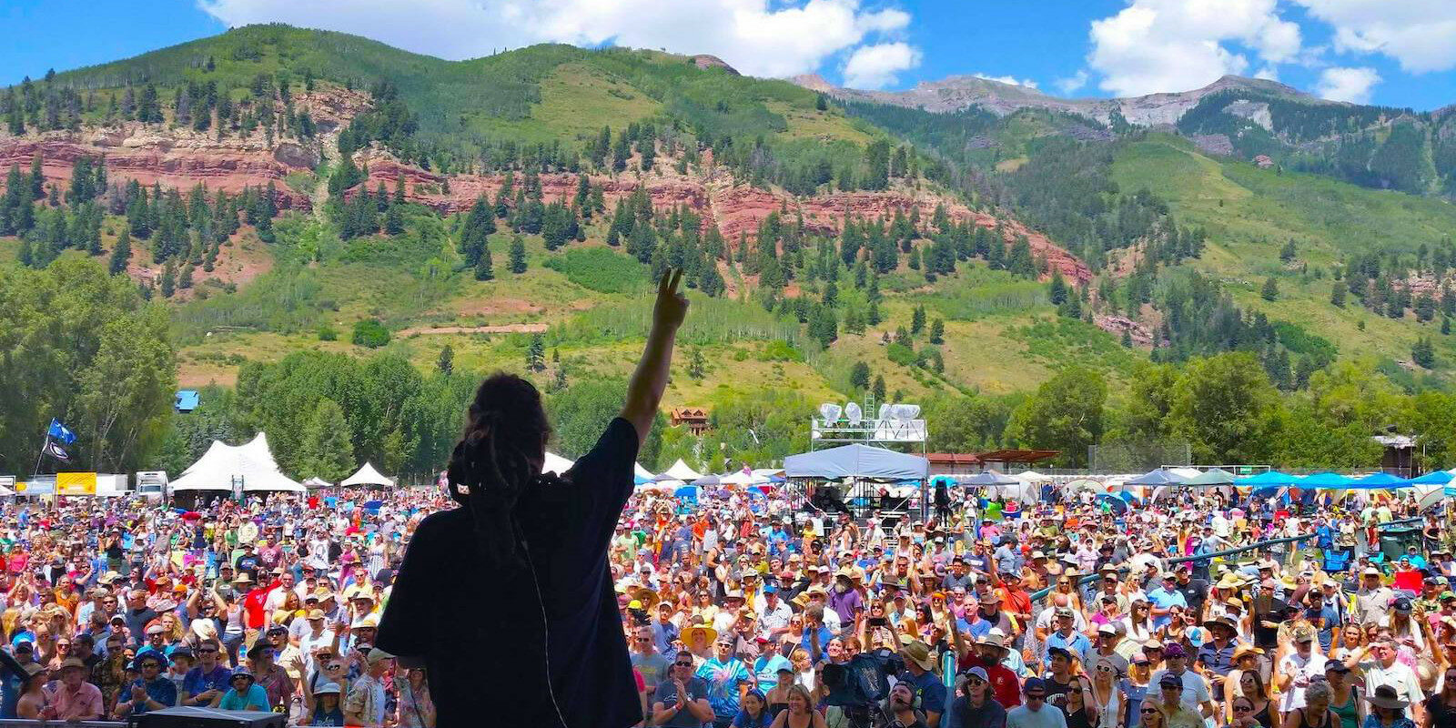 Image of the crowd view from stage at RIDE Festival in Telluride, Colorado
