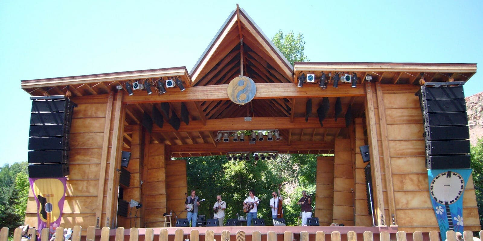 Image of the stage of Rockygrass Festival in Lyons, CO