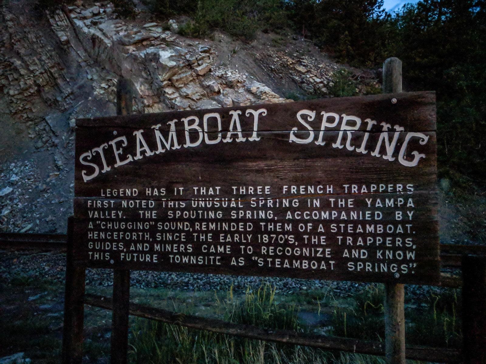 Gambar tanda Steamboat Spring di Colorado