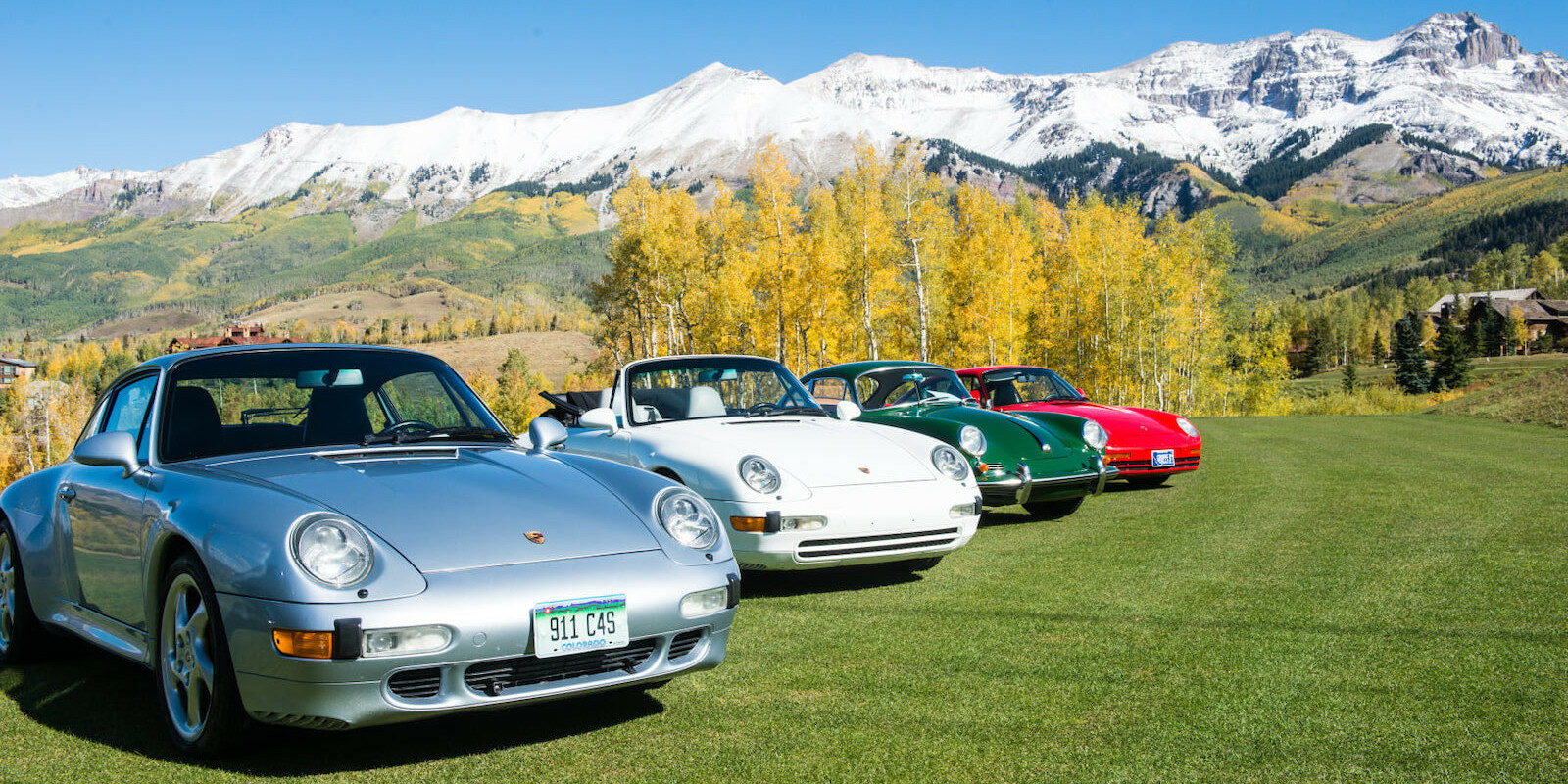Image of cars lined up for the Telluride Autumn Classic in Colorado