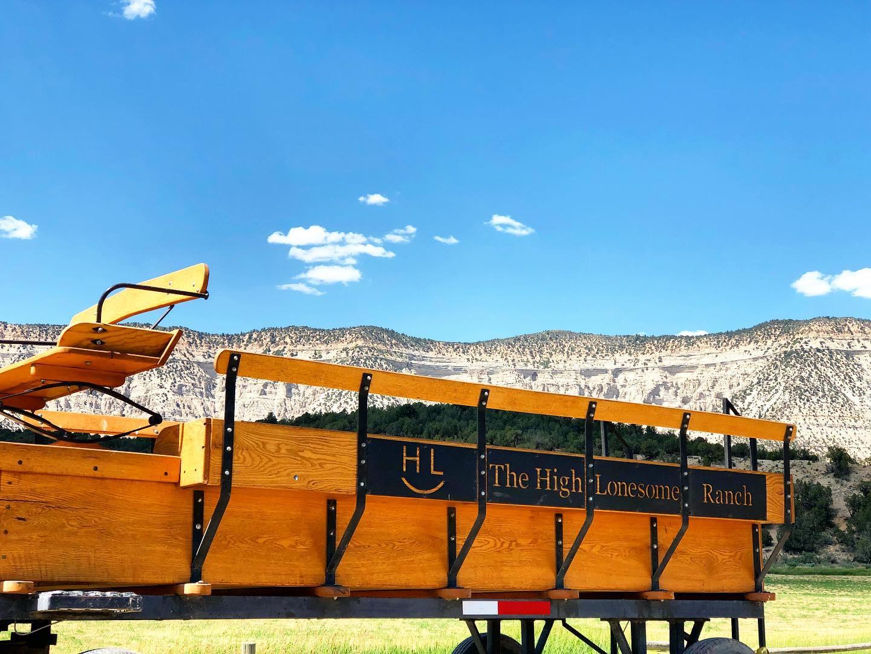 Image of The High Lonesome Ranch's wagon in De Beque, Colorado