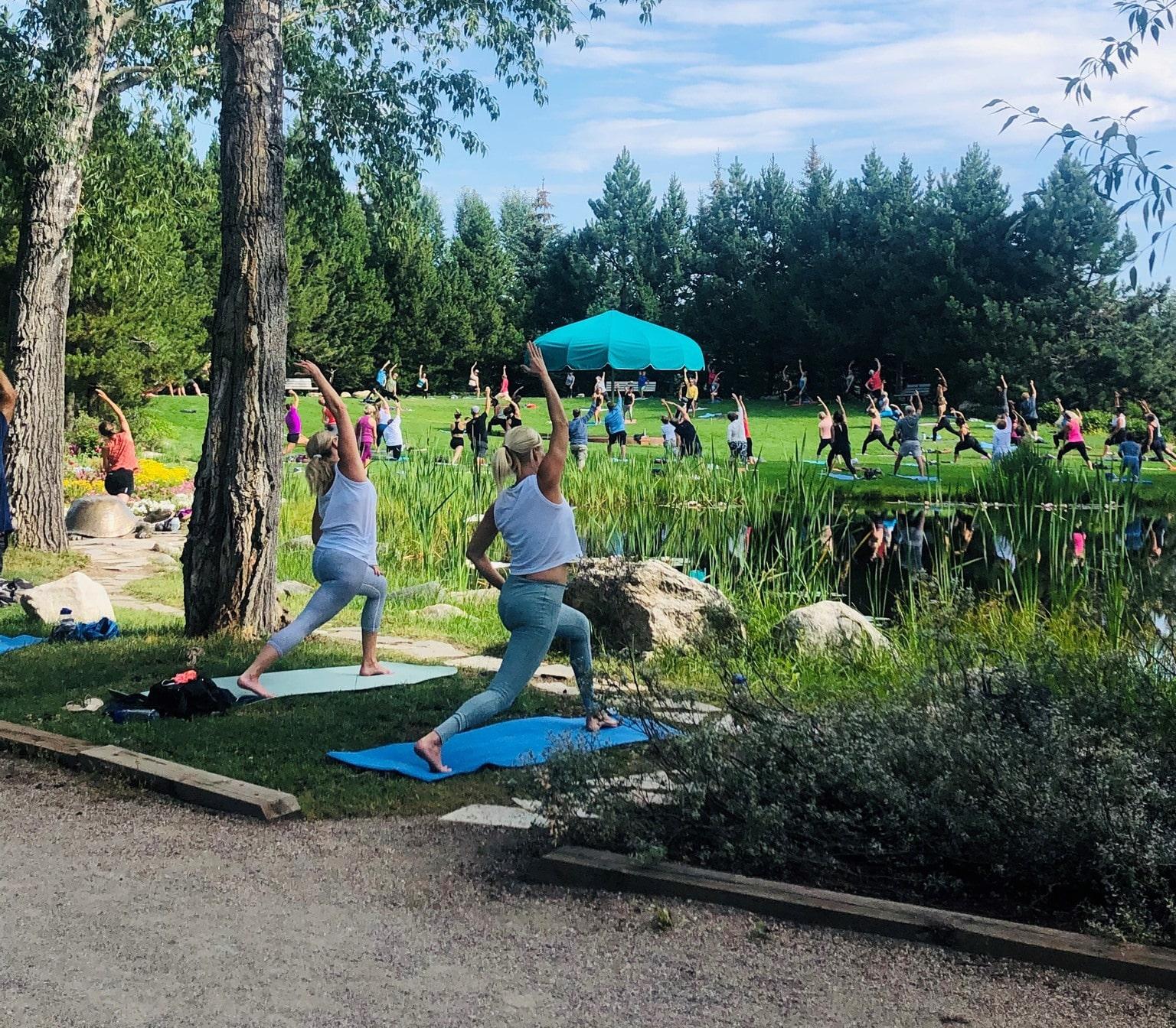 Gambar orang melakukan Yoga di Botanic Park di Steamboat Springs, Colorado