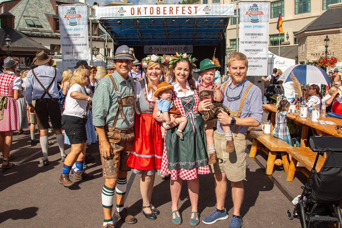 Image of a family at Beaver Creeks' Oktoberfest in Colorado