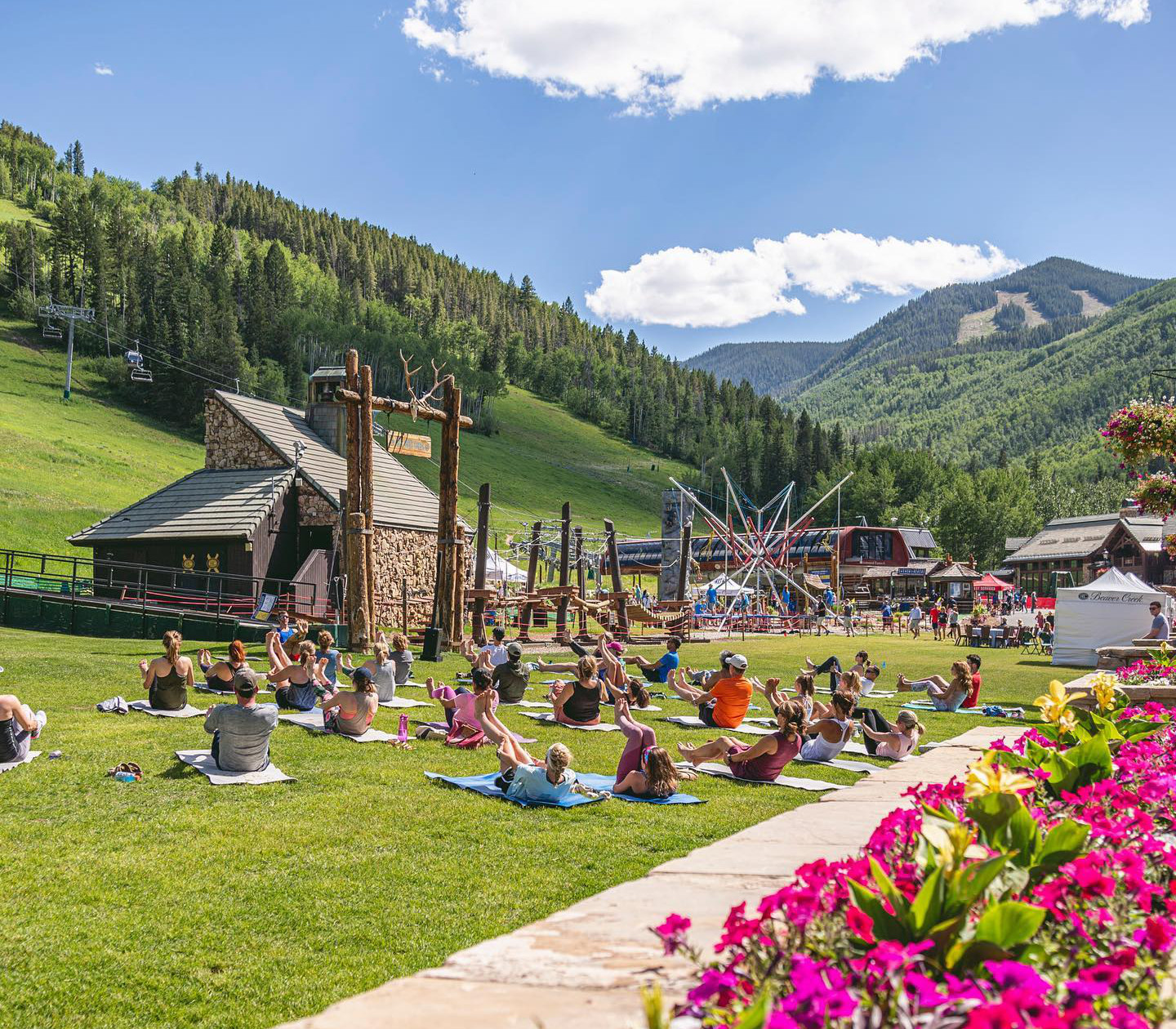 Image of people doing yoga at Beaver Creek Mountain in Colorado