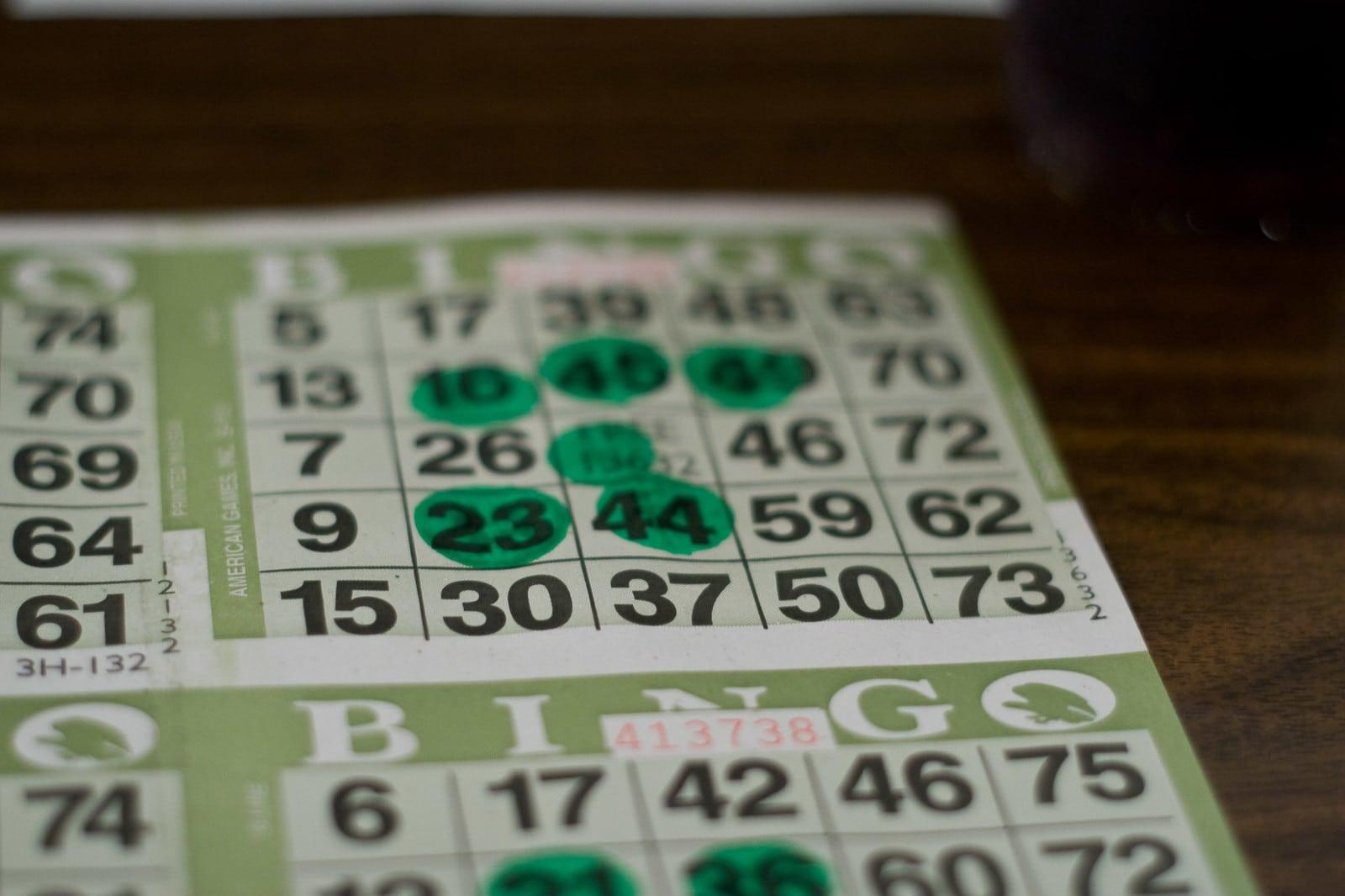 Image of a green bingo card