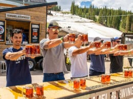 Image of people doing a stein hoist at the 10 Barrel Brewing Company booth at Brews and Tunes in Colorado